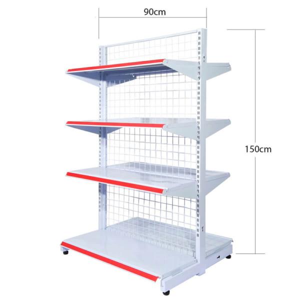 kệ siêu thị đôi lưới 4 tầng 150cmx90cm