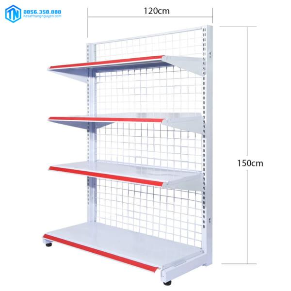 kệ siêu thị đơn lưới 4 tầng 150cmx120cm